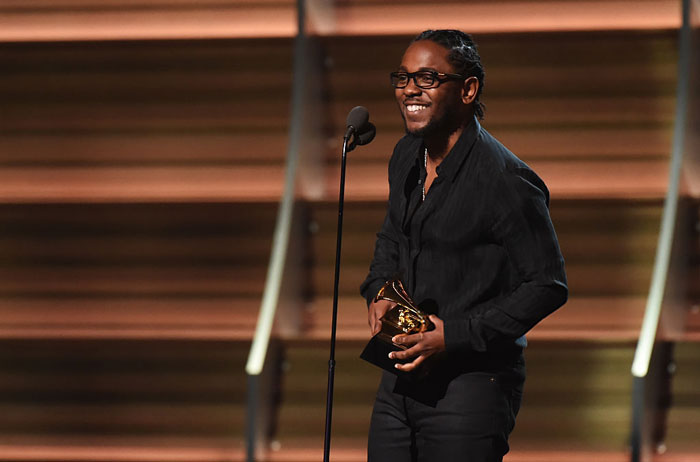 Kendrick+Lamar+accepting+an+award+at+2016%27s+Grammy+Awards.+
