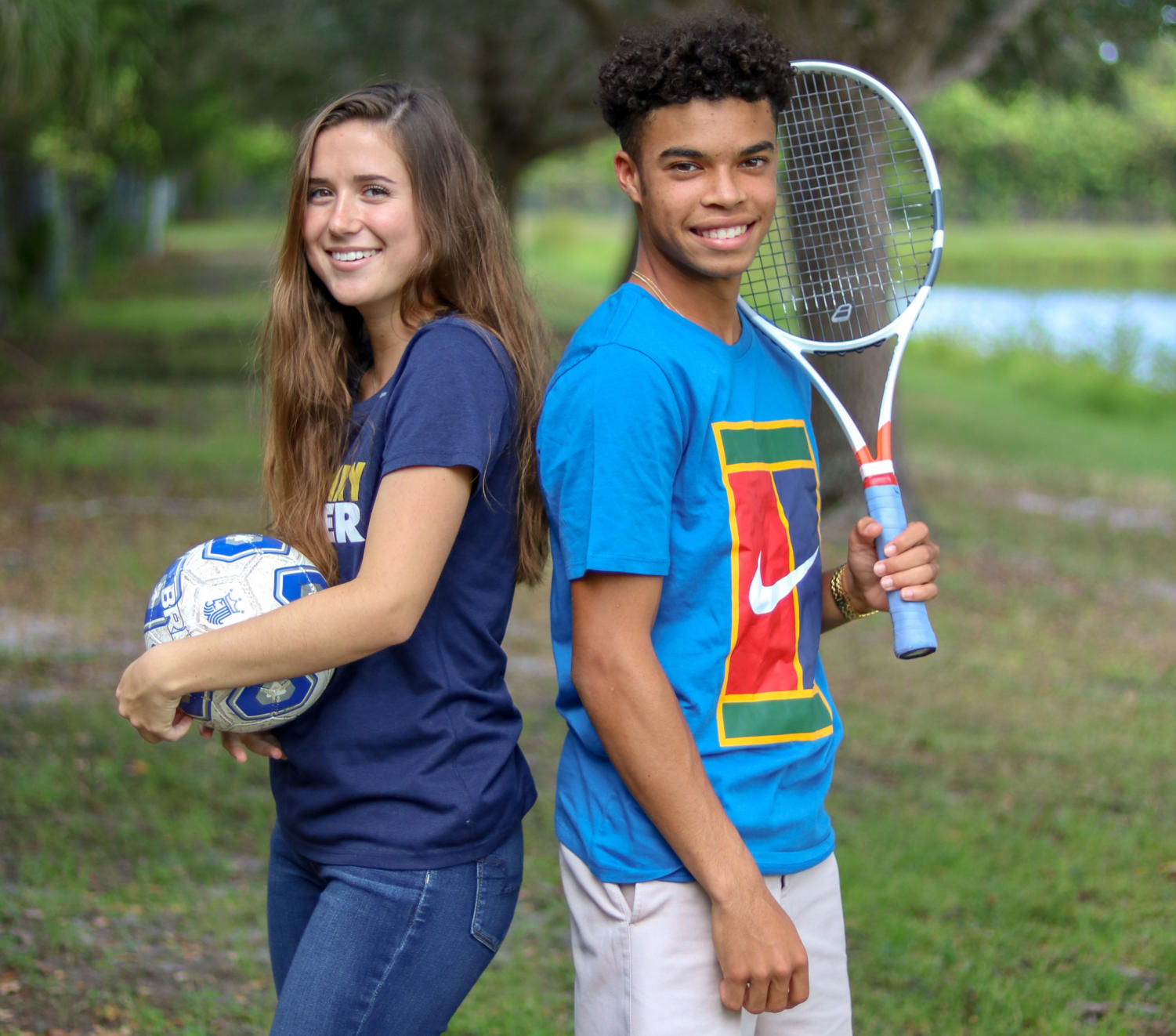 High school soccer player Jessica Baez and club tennis player Nick Olomu.