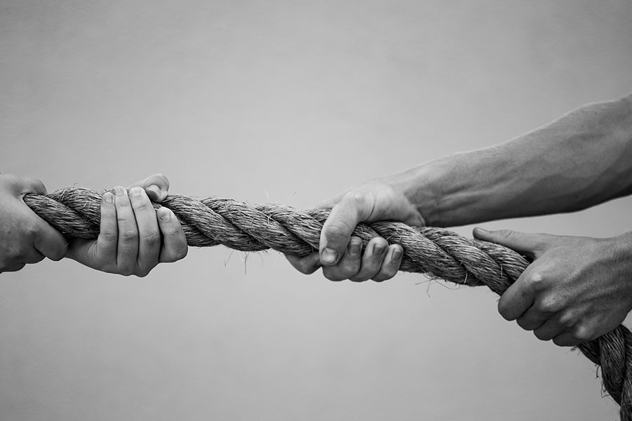 Students strive to come out on top in all areas of life, just like a tug of war.