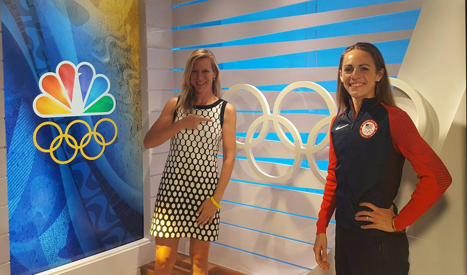 Jill Geer, pictured with athlete Jenny Simpson, worked for Team USA for several years.