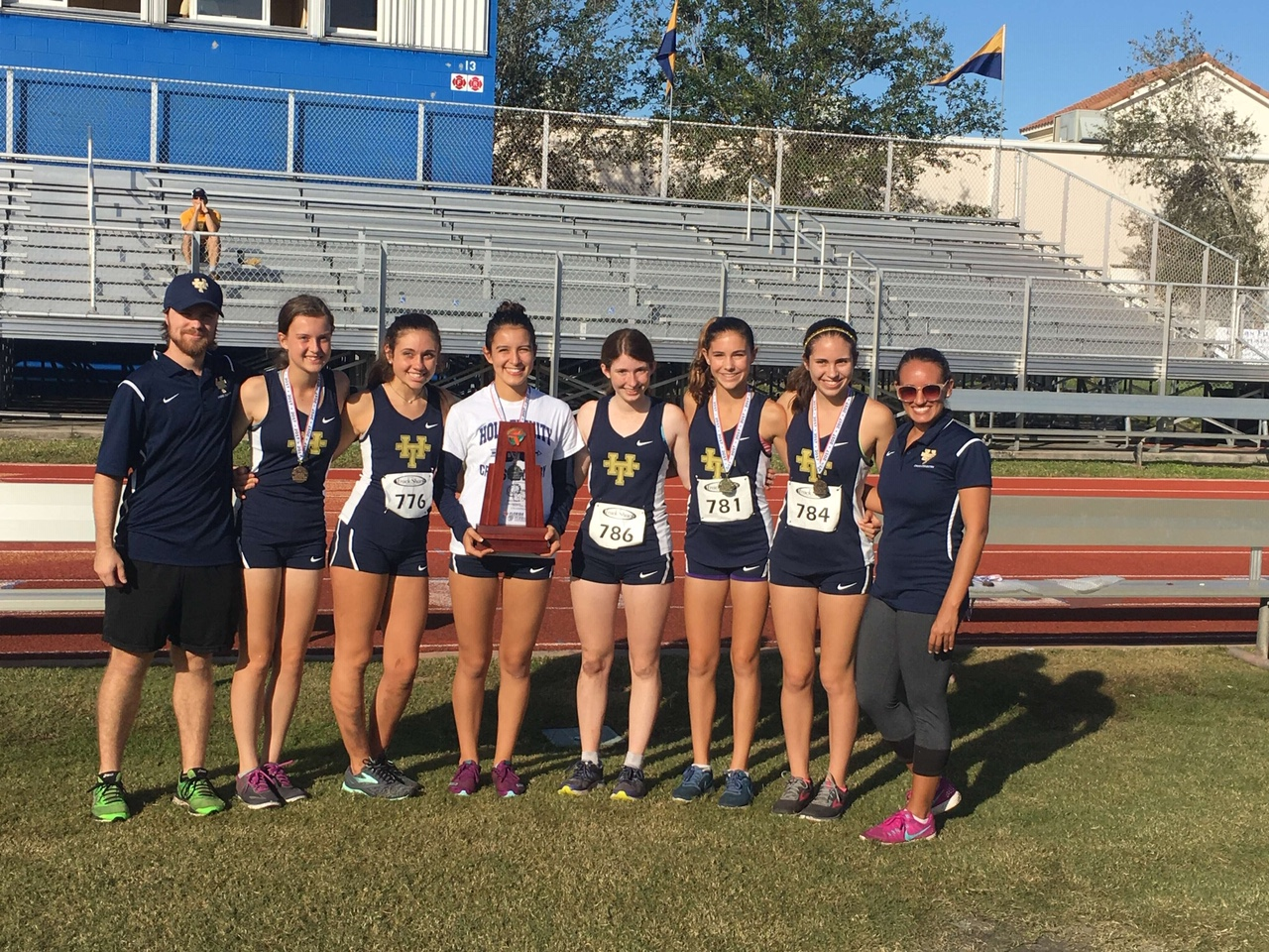 The Holy Trinity girls' cross country team won the District title in 2017. However, the team will face stiffer competition this year due to being relocated to 1A-D4 with many of 1A's top teams due to FHSAA's new guidelines.