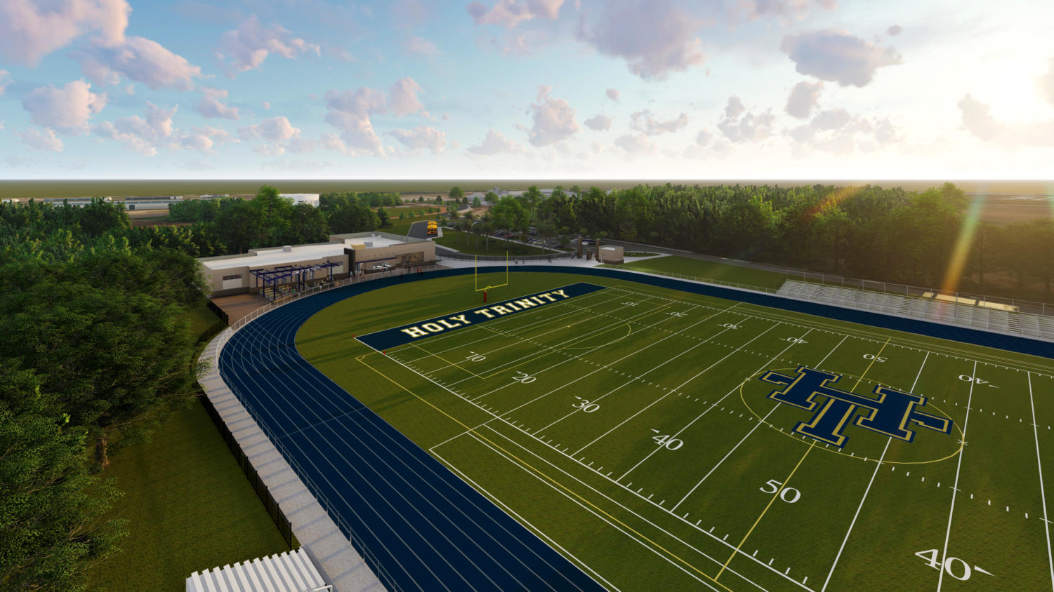 The newest rendering of the Tiger Complex depicts the blue track and turf field. The project is set to finish Phase One in the near future.